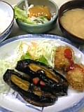 揚げナス&肉フライ定食