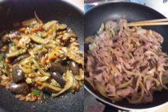茄子味噌炒め&生姜焼き。