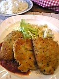 鶏チーズ衣パン粉焼。